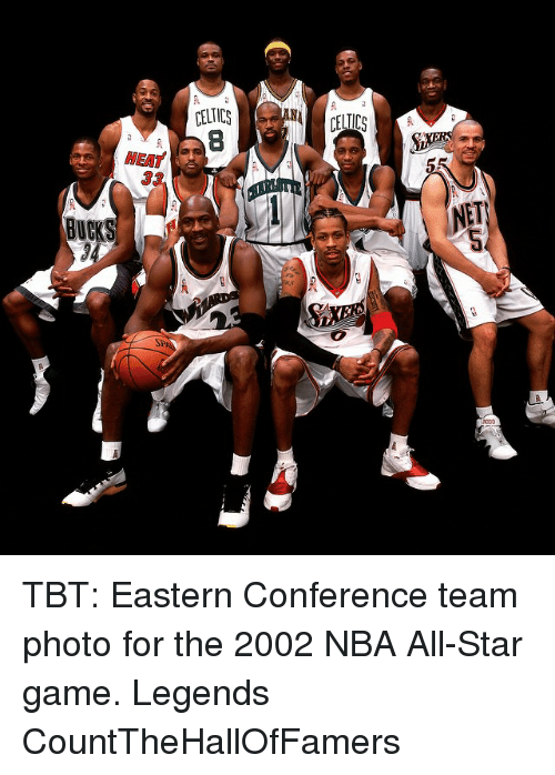 NBA All-Star Game: BUC  MEAT  CELTICS TBT: Eastern Conference team photo for the 2002 NBA All-Star game. Legends CountTheHallOfFamers