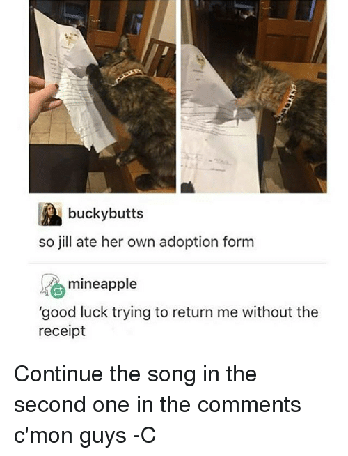 """cmon-guys: bucky butts  so jill ate her own adoption form  se mineapple  """"good luck trying to return me without the  receipt Continue the song in the second one in the comments c'mon guys -C"""