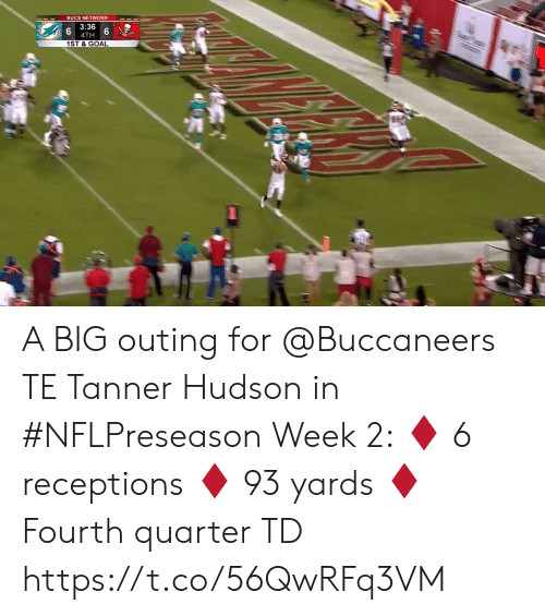 Memes, Goal, and 🤖: BUCS NETWORK  3:36  4TH  1ST & GOAL A BIG outing for @Buccaneers TE Tanner Hudson in #NFLPreseason Week 2:  ♦️ 6 receptions  ♦️ 93 yards  ♦️ Fourth quarter TD https://t.co/56QwRFq3VM
