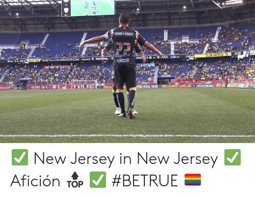 Bud Light: BUD LIGHT  11:57  CLUB AMERICA  CHIVA  AMLCA s MER 500P  30PM 6p JULIO SEATTLE TICKETS p COLOSSUSCUP.COM oCANZA tomios  e m  ENA OFICAL ENLINE BOCASHOPCOMAR  KHIH ✅ New Jersey in New Jersey ✅ Afición 🔝 ✅ #BETRUE 🏳️‍🌈
