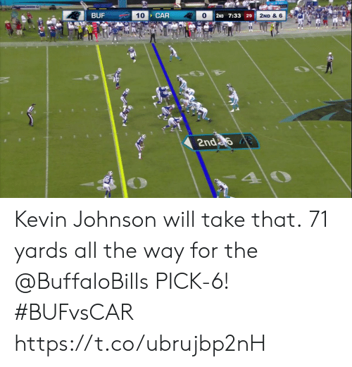 take that: BUF  CAR  10  2ND & 6  2ND 7:33 29  2nda  40 Kevin Johnson will take that.  71 yards all the way for the @BuffaloBills PICK-6! #BUFvsCAR https://t.co/ubrujbp2nH