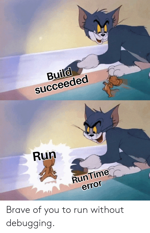 Run, Brave, and You: Buila  succeeded  6  Run  RunTime  error Brave of you to run without debugging.