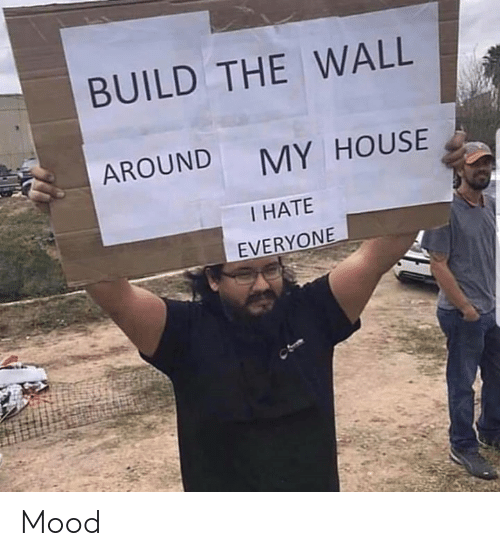 Memes, Mood, and My House: BUILD THE WALL  AROUND  MY HOUSE  I HATE  EVERYONE Mood