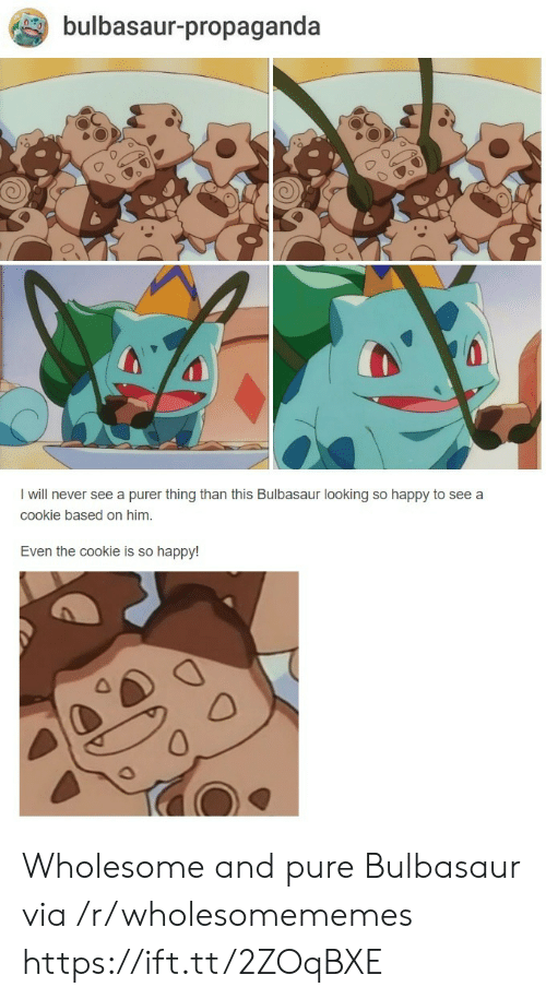 bulbasaur: bulbasaur-propaganda  I will never see a purer thing than this Bulbasaur looking so happy to see a  cookie based on him.  Even the cookie is so happy! Wholesome and pure Bulbasaur via /r/wholesomememes https://ift.tt/2ZOqBXE
