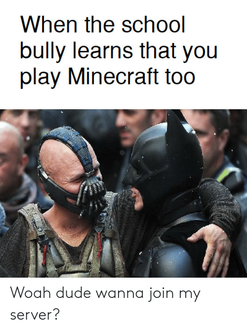 Play Minecraft: bully learns that you  play Minecraft too Woah dude wanna join my server?