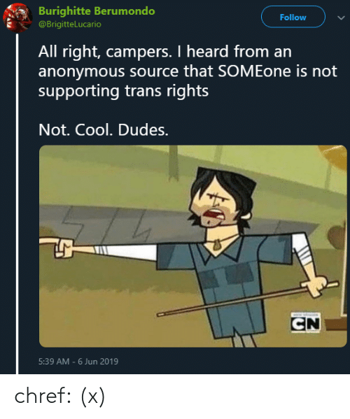 not cool: Burighitte Berumondo  Follow  @BrigitteLucario  All right, campers. I heard from an  anonymous source that SOMEone is not  supporting trans rights  Not. Cool. Dudes.  CN  5:39 AM-6 Jun 2019 chref:  (x)