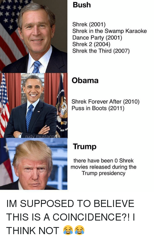 Funny, Movies, and Obama: Bush  Shrek (2001)  Shrek in the Swamp Karaoke  Dance Party (2001)  Shrek 2 (2004)  Shrek the Third (2007)  Obama  Shrek Forever After (2010)  Puss in Boots (2011)  Trump  there have been 0 Shrek  movies released during the  Trump presidency IM SUPPOSED TO BELIEVE THIS IS A COINCIDENCE?! I THINK NOT 😂😂