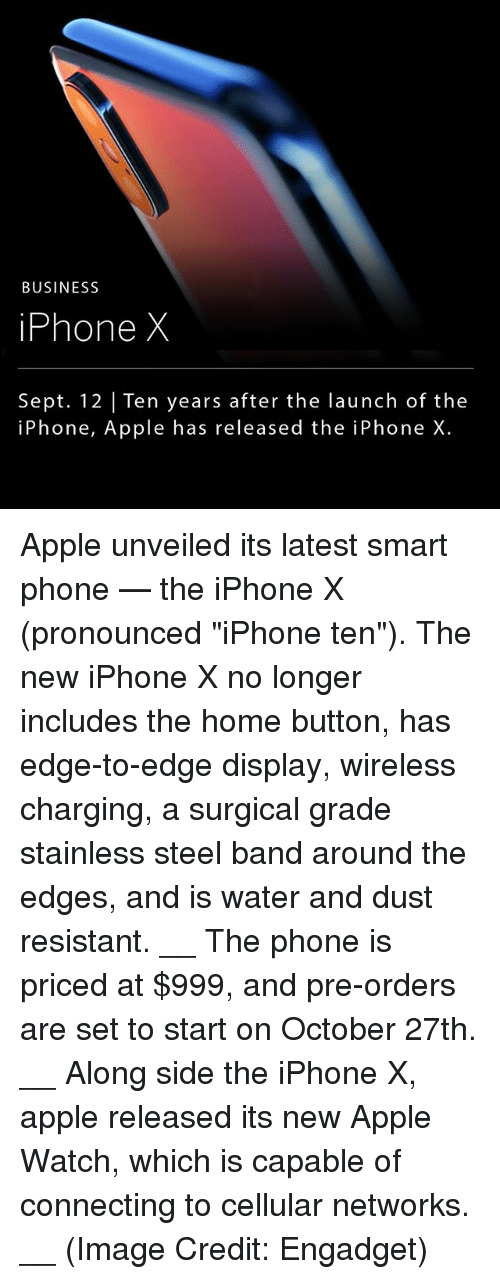 """Smarts: BUSINESS  iPhone X  Sept. 12 