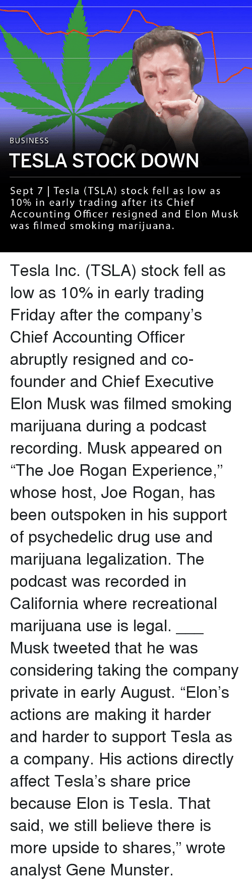 """Friday, Joe Rogan, and Memes: BUSINESS  TESLA STOCK DOWN  Sept 7 