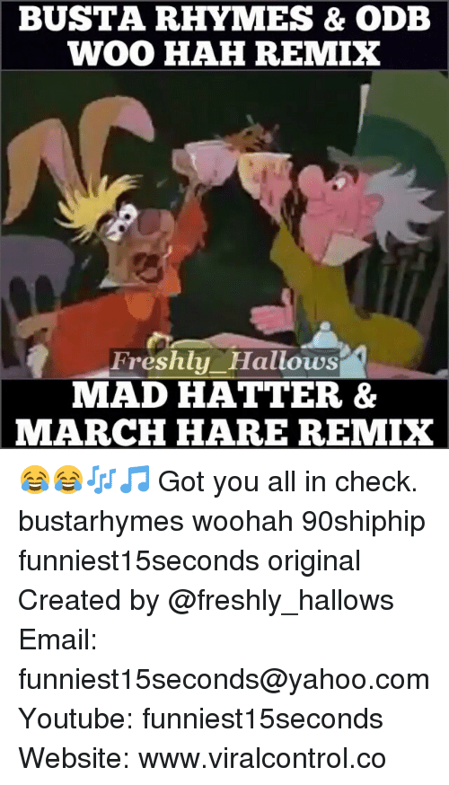Busta Rhymes: BUSTA RHYMES & ODB  WOO HAH REMIX  Freshly Hallows  MAD HATTER &  MARCH HARE REMIX 😂😂🎶🎵 Got you all in check. bustarhymes woohah 90shiphip funniest15seconds original Created by @freshly_hallows Email: funniest15seconds@yahoo.com Youtube: funniest15seconds Website: www.viralcontrol.co