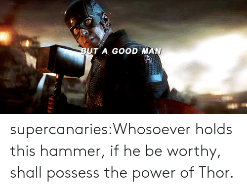 possess: BUT A GOOD MAN supercanaries:Whosoever holds this hammer, if he be worthy, shall possess the power of Thor.
