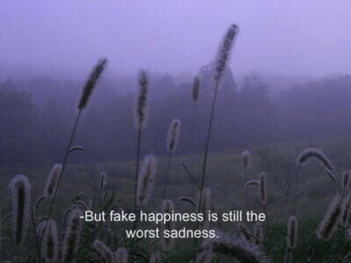 Happiness Is: -But fake happiness is still the  worst sadness