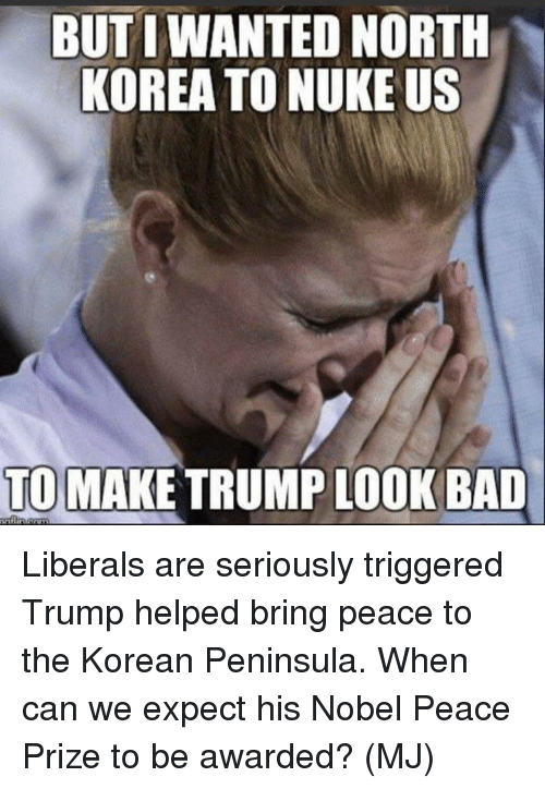 Bad, Memes, and North Korea: BUT I WANTED NORTH  KOREA TO NUKE US  TO MAKE TRUMP LOOK BAD Liberals are seriously triggered Trump helped bring peace to the Korean Peninsula.  When can we expect his Nobel Peace Prize to be awarded?  (MJ)