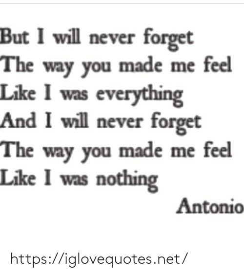 Antonio: But I will never forget  The way you made me feel  Like I was everything  And I will never forget  The way you made me feel  Like I was nothing  Antonio https://iglovequotes.net/