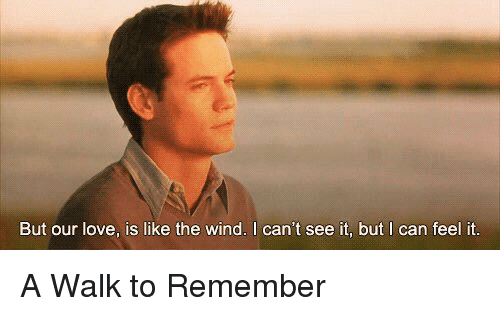 a walk to remember: But our love, is like the wind. I can't see it, but I can feel it. A Walk to Remember