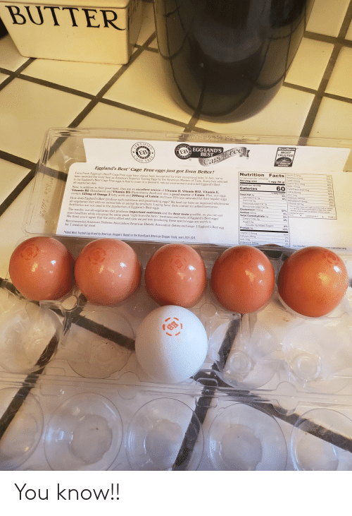 """exceptional: BUTTER  OGE  ALITA  EB  BrandSpark  EGG LAND'S  BEST  MOST  TRUSTED  AGE  BY AMERICAN  SHOPPERS  CageFree  Eggland's Best® Cage Free eggs just got Even Better!  Facts Vitamin E Smg  Nutrition  35%  25%  Riboflavin 0.3mg  Folate 45mcg  Vitamin B12 1mog  Biotin 10mcg  Pantothenic Acid 1mg  lodine 60mcg  12 servings per container  Serving size  Farm Fresh Eggland's Best® Cage Free eggs have always been recognized for their exceptional taste. In fact, we've  been awarded the Gold Seal as America's Superior Tasting Eggs by the American Masters of Taste. Every hen selected  to lay Eggland's Best Cage Free eggs is free to roam in a pleasant, natural environment and is fed Eggland's Best  all-vegetarian diet.  Now, in addition to their great taste, they are an excellent source of Vitamin D, Vitamin B12, Vitamin E,  Vitamin B2 (Riboflavin) and Vitamin B5 (Pantothenic Acid) and also a good source of Folate. Plus, our eggs  contain 125mg of Omega 3 fatty acids and 200mcg of Lutein and have 25% less saturated fat than regular eggs.  How does Eggland's Best produce such nutritious and gre  all-vegetarian diet with no animal fats or animal by-products. Laying hens' diets contain no added hormones.  Antibiotics are not used in the production of Eggland's Best eggs.  10%  1 egg (50 g)  Amount per serving  35%  60  Calories  20%  % Daily Value  Zinc 1mg  Selenium 22mog  6%  Molybdenum Bmcg  10%  Total Fat 4g  Saturated Fat 1g  Trans Fat 0g  Polyunsaturated Fat 1g  Monounsaturated Fat 29  Cholesterol 170mg  Sodium 65mg  Choline 147mg  25%  The % Daiy Va DV s you how much a nutrent  in a serving of food contributes to a daly det. 2c00  tasting eggs? We feed our hens an improved wholesome  Calories a day is used tor oepera  57%  Fat 9  Carbohydrate 4  Pretein  The results: our all-vegetarian diet produces important nutrients and the best taste possible, so you can eat  even healthier while enjoying the same great """"right-from-the-farm"""" freshness and taste of Eggland's Best """