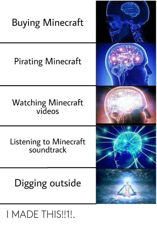 Soundtrack: Buying Minecraft  Pirating Minecraft  Watching Minecraft  videos  Listening to Minecraft  soundtrack  Digging outside I MADE THIS!!1!.