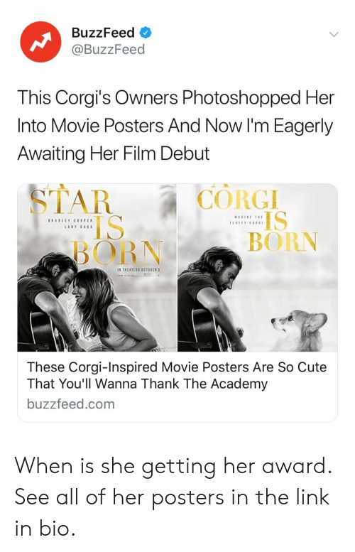 Corgis: BuzzFeed  @BuzzFeed  This Corgi's Owners Photoshopped Her  Into Movie Posters And Now I'm Eagerly  Awaiting Her Film Debut  CORGI  IS  BORN  BORN  IN THEATERS OCTOBER  These Corgi-Inspired Movie Posters Are So Cute  That You'll Wanna Thank The Academy  buzzfeed.com When is she getting her award. See all of her posters in the link in bio.