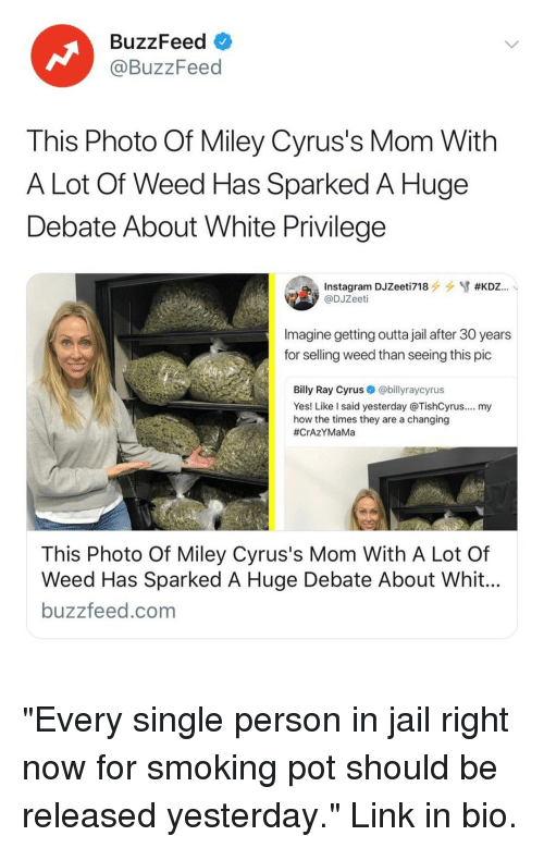 "White Privilege: BuzzFeed  @BuzzFeed  This Photo Of Miley Cyrus's Mom With  A Lot Of Weed Has Sparked A Huge  Debate About White Privilege  @DJZeeti  Imagine getting outta jail after 30 years  for selling weed than seeing this pic  Billy Ray Cyrus@billyraycyrus  Yes! Like l said yesterday @TishCyrus.... my  how the times they are a changing  #CrAZYMaMa  This Photo Of Miley Cyrus's Mom With A Lot Of  Weed Has Sparked A Huge Debate About Whit  buzzfeed.com ""Every single person in jail right now for smoking pot should be released yesterday."" Link in bio."