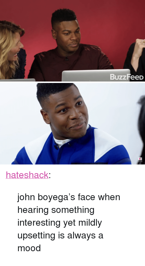 "John Boyega: BuzzFeeD   Subscribe <p><a href=""https://hateshack.tumblr.com/post/168846829296/john-boyegas-face-when-hearing-something"" class=""tumblr_blog"">hateshack</a>:</p>  <blockquote><p>john boyega's face when hearing something interesting yet mildly upsetting is always a mood</p></blockquote>"