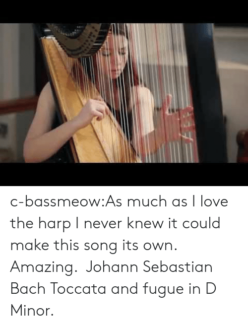 bach: c-bassmeow:As much as I love the harp I never knew it could make this song its own. Amazing. Johann Sebastian Bach Toccata and fugue in D Minor.