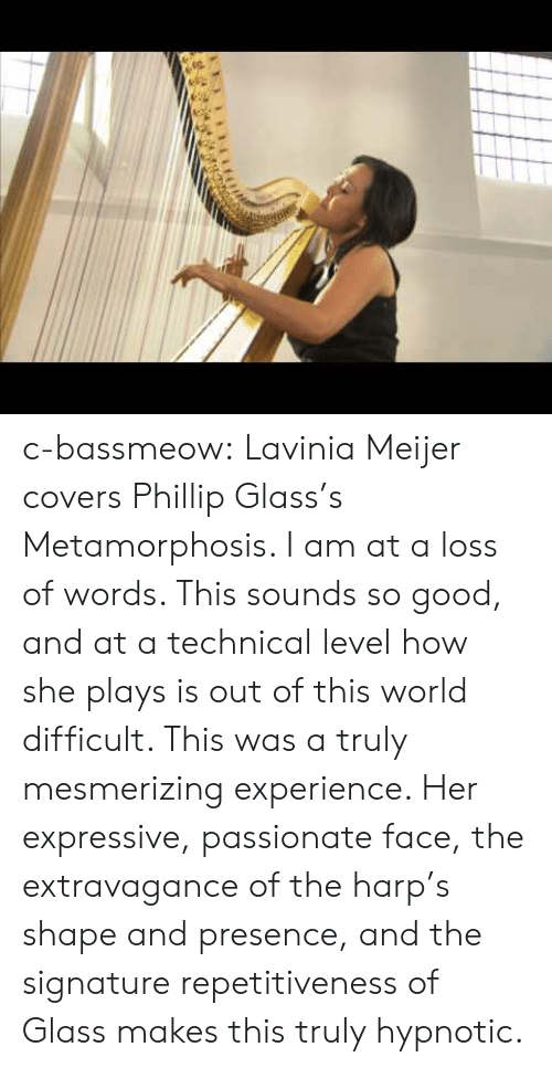 Covers: c-bassmeow: Lavinia Meijer covers Phillip Glass's Metamorphosis. I am at a loss of words. This sounds so good, and at a technical level how she plays is out of this world difficult. This was a truly mesmerizing experience. Her expressive, passionate face, the extravagance of the harp's shape and presence, and the signature repetitiveness of Glass makes this truly hypnotic.