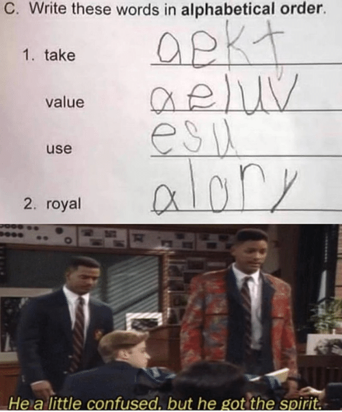 Confused, Memes, and Spirit: C. Write these words in alphabetical order.  Opkt  eluy  esia  alary  1. take  value  use  2. royal  He a little confused. but he got the spirit.