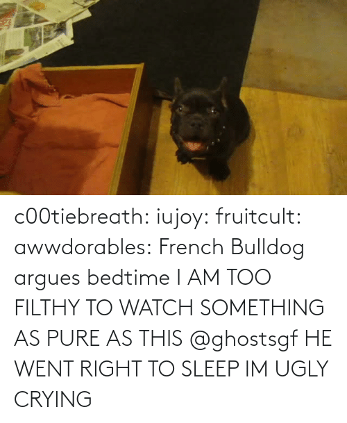 Sleep: c00tiebreath:  iujoy:   fruitcult:  awwdorables:  French Bulldog argues bedtime  I AM TOO FILTHY TO WATCH SOMETHING AS PURE AS THIS   @ghostsgf   HE WENT RIGHT TO SLEEP IM UGLY CRYING