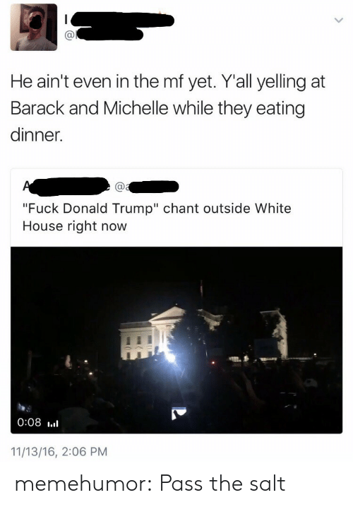 """Fuck Donald Trump: Ca  He ain't even in the mf yet. Yall yelling at  Barack and Michelle while they eating  dinner.  Ca  """"Fuck Donald Trump"""" chant outside White  House right now  0:08 .l  11/13/16, 2:06 PM memehumor:  Pass the salt"""