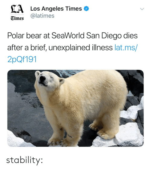 SeaWorld: CA  Los Angeles Times o  @latimes  Gimes  Polar bear at SeaWorld San Diego dies  after a brief, unexplained illness lat.ms  2pQf191 stability: