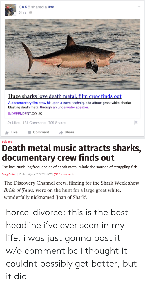 shark week: CAKE shared a link.  6 hrs.  Huge sharks love death metal, film crew finds out  A documentary film crew hit upon a novel technique to attract great white sharks  blasting death metal through an underwater speaker  INDEPENDENT CO.UK  1.2k Likes 131 Comments 709 Shares  Like -Comment → Share   Science  Death metal music attracts sharks,  documentary crew finds out  The low, rumbling frequencies of death metal mimic the sounds of struggling fish  Doug Bolton Friday 10 July 2015 17:19 BST 10 comments   The Discovery Channel crew, filming for the Shark Week show  Bride of Faus, were on the hunt for a large great white.  wonderfully nicknamed 'Joan of Shark'. horce-divorce:  this is the best headline i've ever seen in my life, i was just gonna post it w/o comment bc i thought it couldnt possibly get better, but it did
