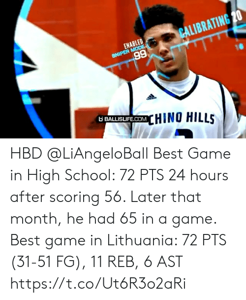 Scoring: CALIBRATING 20  ENABLED  SNIPER MODE  66  6 BALLISIFE.COMHINO HILLS HBD @LiAngeloBall  Best Game in High School: 72 PTS 24 hours after scoring 56. Later that month, he had 65 in a game.   Best game in Lithuania: 72 PTS (31-51 FG), 11 REB, 6 AST https://t.co/Ut6R3o2aRi