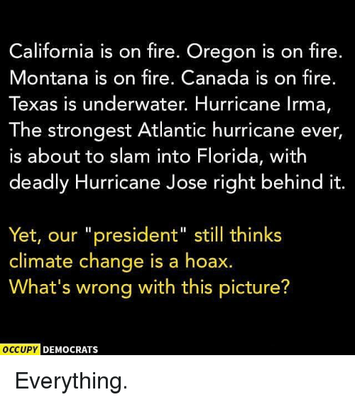 "Fire, Memes, and California: California is on fire. Oregon is on fire.  Montana is on fire. Canada is on fire.  Texas is underwater. Hurricane lrma,  The strongest Atlantic hurricane ever  is about to slam into Florida, with  deadly Hurricane Jose right behind it  Yet, our ""president"" still thinks  climate change is a hoax.  What's wrong with this picture?  OCCUPY  DEMOCRATS Everything."