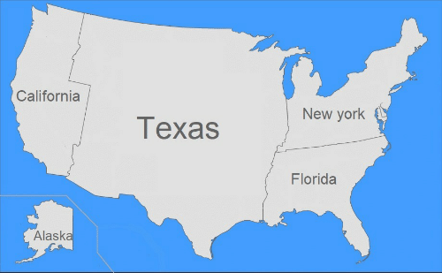New York, Alaska, and California: California  New york  Техas  Florida  Alaska