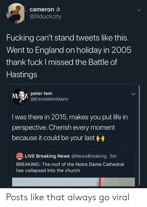 Church, England, and Fucking: cameron  @lilduckcity  Fucking can't stand tweets like this.  Went to England on holiday in 2005  thank fuck I missed the Battle of  Hastings  pater tem  @EmreMeinMann  I was there in 2015, makes you put life in  perspective. Cherish every moment  because it could be your last  LIVE Breaking News @NewsBreaking 5m  BREAKING: The roof of the Notre Dame Cathedral  has collapsed into the church Posts like that always go viral