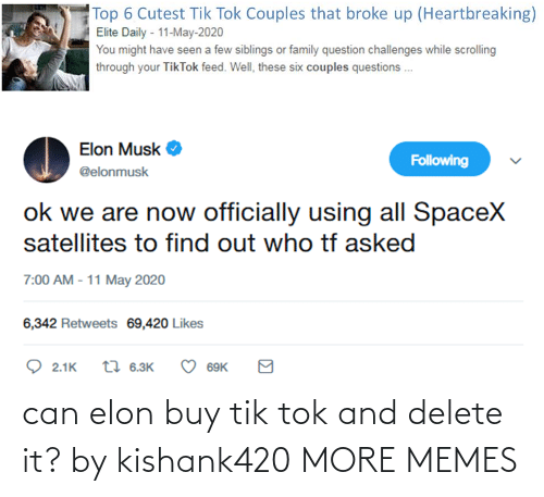Buy: can elon buy tik tok and delete it? by kishank420 MORE MEMES