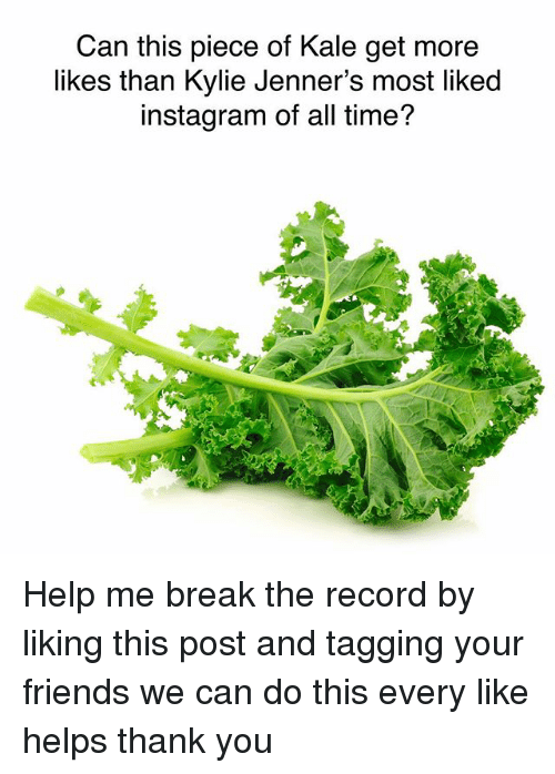 Friends, Instagram, and Memes: Can this piece of Kale get more  likes than Kylie Jenner's most liked  instagram of all time? Help me break the record by liking this post and tagging your friends we can do this every like helps thank you