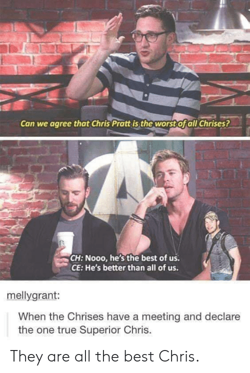 Chris Pratt, The Worst, and True: Can we agree that Chris Pratt is the worst Ofall Chrises?  CH: Nooo, he's the best of us  CE: He's better than all of us.  mellygrant:  When the Chrises have a meeting and declare  the one true Superior Chris. They are all the best Chris.