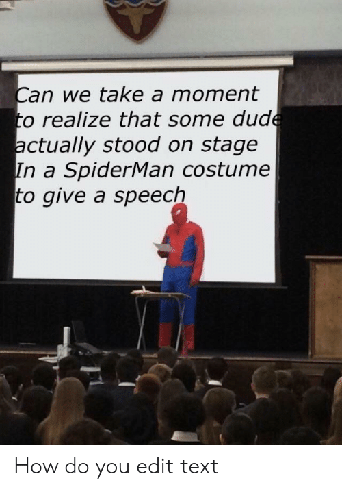 Dude, Spiderman, and Text: Can we take a moment  to realize that some dude  actually stood on stage  In a SpiderMan costume  to give a speech How do you edit text