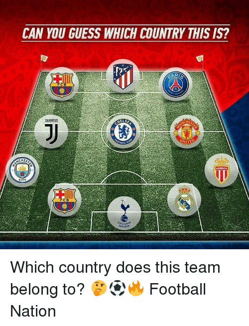 Football, Memes, and Guess: CAN YOU GUESS WHICH COUNTRY THIS IS?  AR  FCB  UUENTUS  ELSE  HE  OTaALL  CITY  FCB  SPIR Which country does this team belong to? 🤔⚽️🔥 Football Nation