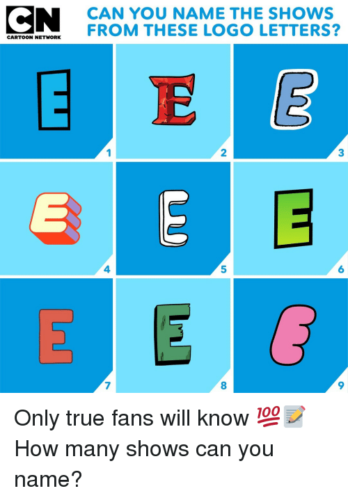 5 6 7 8: CAN YOU NAME THE SHOWS  EATOT HETVOENFROM THESE LOGO LETTERS?  1  2  3  4  5  6  7  8  9 Only true fans will know 💯📝 How many shows can you name?