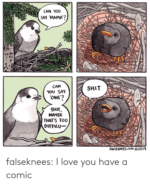 I Love You: CAN YOU  SAY 'MAMA'?  CAN  YOU SAY  'OWL'?  SHIT  SHIT,  MAYBE  THAT'S TOO  DIFFICU-  FALSEKNEES.cOM ©2019 falseknees:  I love you have a comic