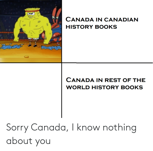 Canadian: CANADA IN CANADIAN  HISTORY BOOKS  దివదల  CANADA IN REST OF THE  WORLD HISTORY BOOKS Sorry Canada, I know nothing about you
