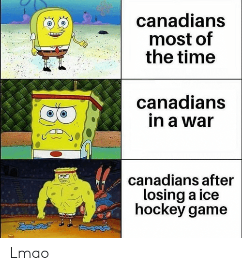 Hockey, Lmao, and Game: canadians  most of  the time  anadians  in a war  o a  canadians after  losing a ice  hockey game Lmao