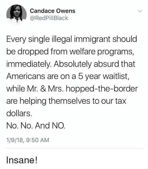Memes, Absurd, and Single: Candace Owens  @RedPillBlack  Every single illegal immigrant should  be dropped from welfare programs,  immediately. Absolutely absurd that  Americans are on a 5 year waitlist,  while Mr. & Mrs. hopped-the-border  are helping themselves to our tax  dollars.  No. No. And NO  1/9/18, 9:50 AM Insane!