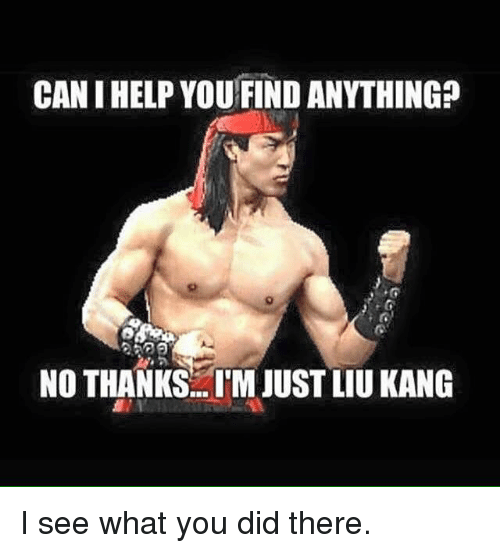liu kang: CANIHELPYOU FIND ANYTHING  NO THANKS ITM JUST LIU KANG I see what you did there.