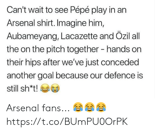 Arsenal, Soccer, and Goal: Can't wait to see Pépé play in an  Arsenal shirt. Imagine him,  Aubameyang, Lacazette and Özil all  the on the pitch together  hands on  their hips after we've just conceded  another goal because our defence is  still sh*t! Arsenal fans... 😂😂😂 https://t.co/BUmPU0OrPK