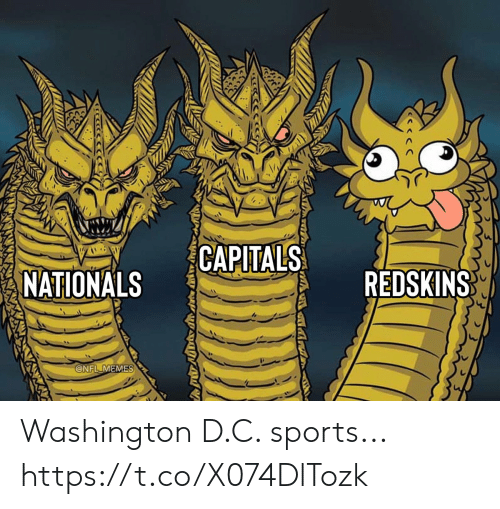 Football, Memes, and Nfl: CAPITALS  REDSKINS  NATIONALS  @NFL MEMES Washington D.C. sports... https://t.co/X074DlTozk