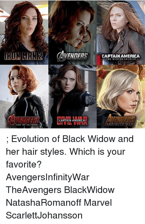 America, Memes, and Winter: CAPTAINAMERICA  THE WINTER SOLDIER  CAPTAIN AMERICA ; Evolution of Black Widow and her hair styles. Which is your favorite? ⠀⠀⠀⠀ AvengersInfinityWar TheAvengers BlackWidow NatashaRomanoff Marvel ScarlettJohansson