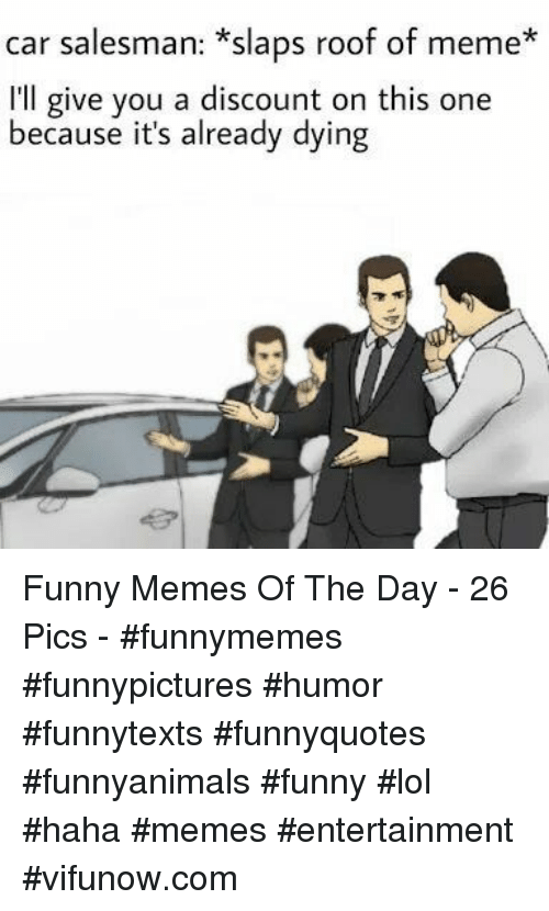 Funny, Lol, and Meme: car salesman: *slaps roof of meme*  I'll give you a discount on this one  because it's already dying Funny Memes Of The Day - 26 Pics - #funnymemes #funnypictures #humor #funnytexts #funnyquotes #funnyanimals #funny #lol #haha #memes #entertainment #vifunow.com